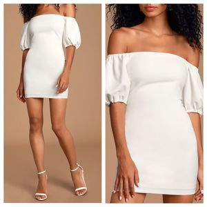 Lulus Maylee White Off-the-Shoulder Mini Dress